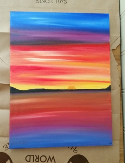 Sunset painting gone bad. Water soluble oil paint.