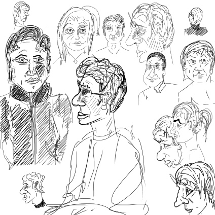Practising drawing faces